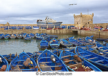 Boats at the harbor from Essaouria Morocco - Boats at the...