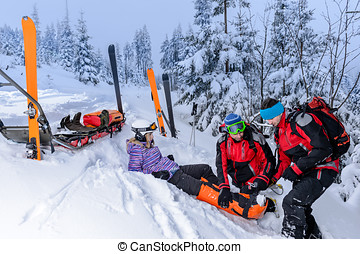 Ski patrol team rescue woman broken leg - Ski patrol team...