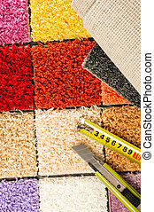 Carpet swatches, tape measure, boxcutter - Carpet swatches,...