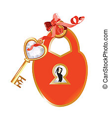 decorating with padlock and key, - Valentine's Day...