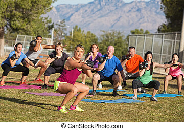 Diverse Group Adults Exercising