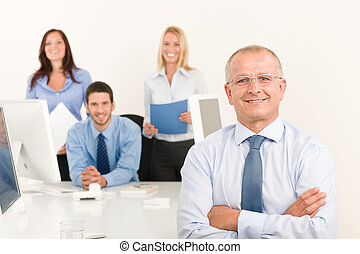 Business team senior manager with work colleagues - Business...