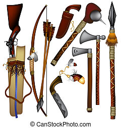set of weapons American Indian - weapons used in ancient...