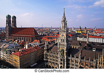 munich historical center - germany munich bird eye view of...
