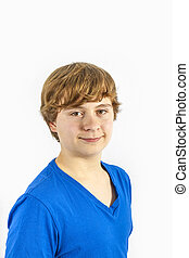 handsome teenage boy with blue shirt