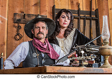 Gruff Cowboy Poses With Saloon Girl - Gruff Cowboy Poses...