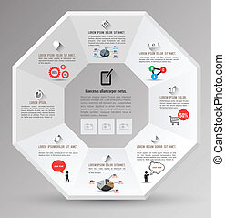 Octagon template with icons for business concept or...