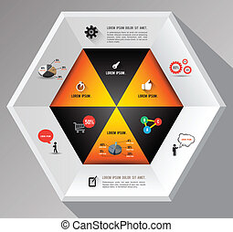 hexagon template with icons for business concept template...