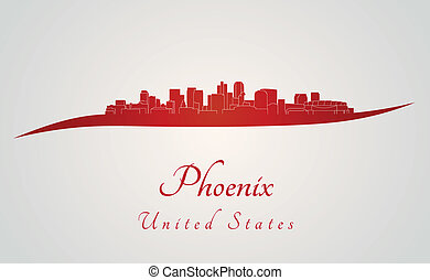 Phoenix skyline in red and gray background in editable...