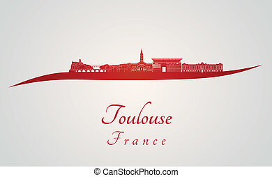 Toulouse skyline in red and gray background in editable...