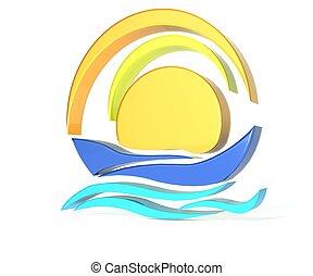 Ship and sun logo