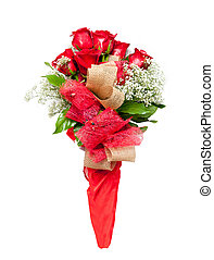 Flower bouquet of red roses on white background