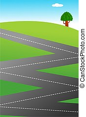 country road - An illustration of a zig zag shaped country...