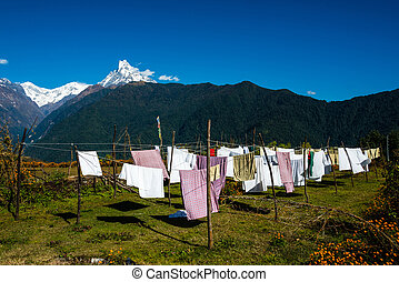 Laundry drying in Nepal - Laundry drying with the...
