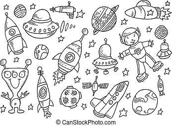 Outer Space Sketch Doodle set