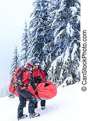 esquí, patrulla, llevar, herido, persona, camilla