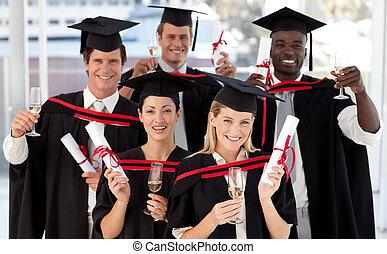 grupo, gente, Graduar, colegio