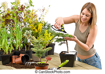 Gardening - woman trimming bonsai tree with prunning shears...