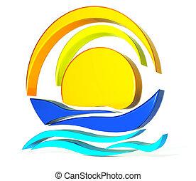 Boat sun logo - Boat sun icon