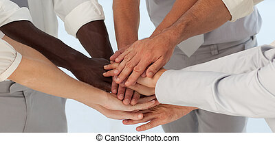 Close up of Business Teams with hands together - Concpet of...