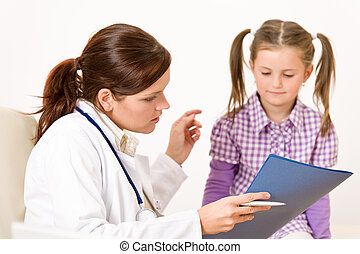 Female doctor with child at medical office showing file