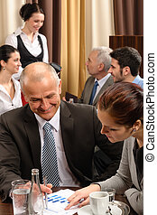 Business meeting executive people at restaurant - Business...