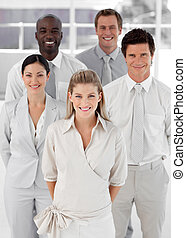Business Group of Five people looking at camera and Smiling