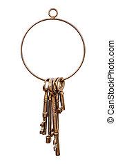 laiton, clé, anneau, clés