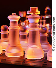 Glass chess on a glass chessboard - Glass chess on a...