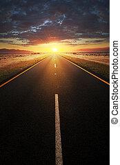 directement, asphalte, route, mener, lumière soleil