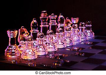 vidrio, ajedrez, vidrio, tablero de ajedrez
