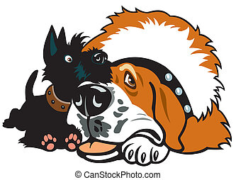 cartoon scottie and saint-bernard - dogs friendship,scottish...