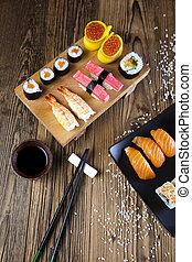 japoneses, mistura, sushi