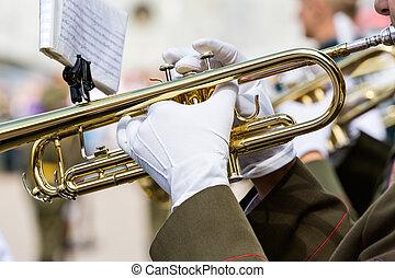 banda, trompetas, Marchar