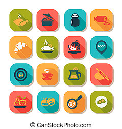 flat food icon set - Flat Food Icons Set Created For Mobile,...
