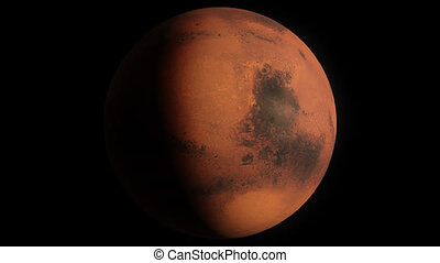 Planet Mars - Beautiful 3d animation of Mars planet rotates...