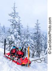 傷害, 婦女, 巡邏, 援救, 雪橇, 滑雪