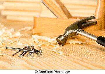 selección, carpintero, herramientas