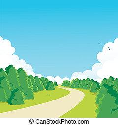Peaceful Park Walkway - Curved walkway through peaceful...