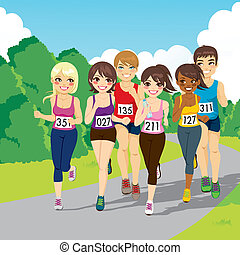 Marathon Running Competition - Group of male and female...