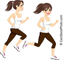 Woman Running Poses - Side view full body beautiful brunette...