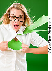 Green Superhero Businesswoman crazy face  Emerges from shirt