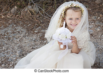 First holy communion girl with dress, veil and candle - A...