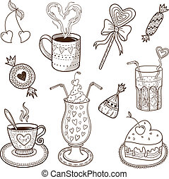 Collection of drinks and sweets. Sketch vector element for...