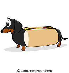 Hot dog - Cartoon illustration showing a dachshund dog...