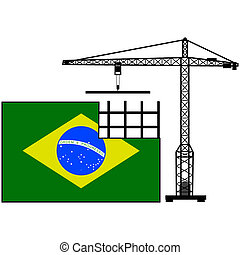 Brazil in construction - Concept illustration showing the...