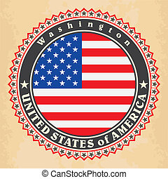 Vintage label cards of United States of America flag. Vector