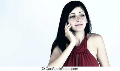 Angry woman fighting on the phone