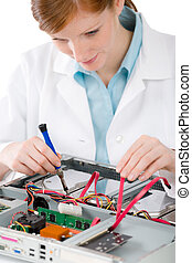 Female support computer engineer - woman repair - Female...