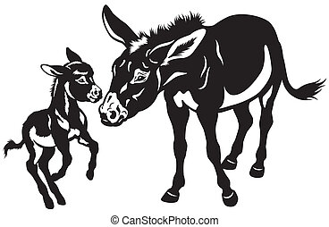 donkey mother with baby black and white illustration